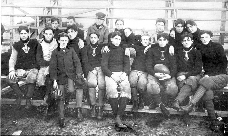 1900 LHS football team. Fitchburg-Leominster rivalry photos courtesy of the Leominster Historical Society, Jack Celli and Mark Bodanza