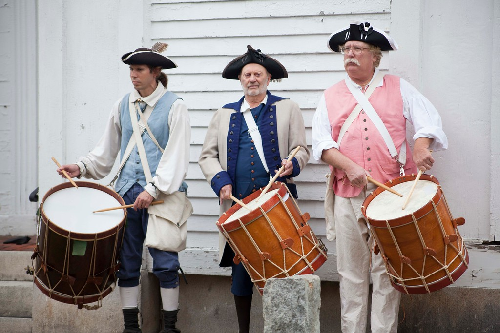 . Drummers from the Groton Minutemen organization play during a Saturday ceremony to re-install the Old Groton Meetinghouse\'s weather vane. Lowell Sun/Chris Lisinski