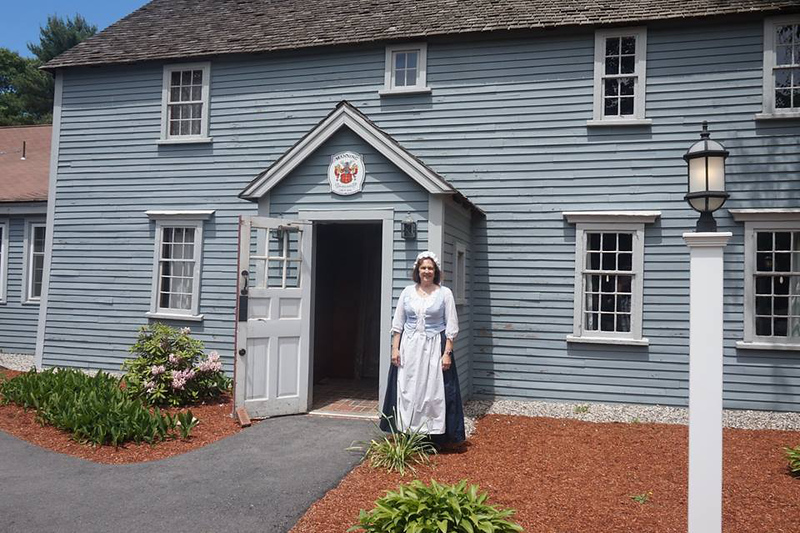 Diane Douglas of Billerica, a member of the Billerica Historical Society, greeted guests who arrived at the Manning Manse, which was where the tour began. Photo by Beth Douglas