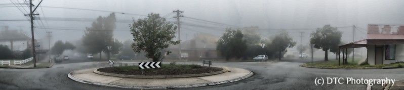 Misty morning intersection
