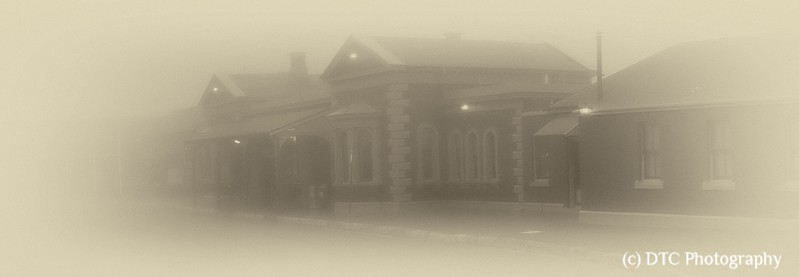 Railway Station, fog enshrouded