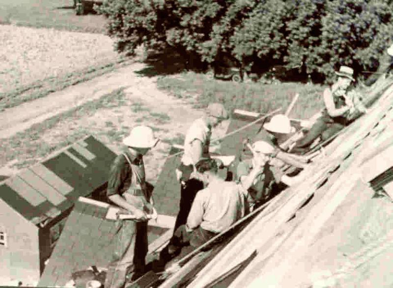 Students building Alden Hall