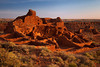 Wupatkii Pueblo, Wupatki National Monument, Arizona. The pueblo construction began around 1120 AD. It reached four stories and may have contained 100 rooms. Construction is believed to have ended around 1195, and within 20 years after that the pueblo was abandoned.