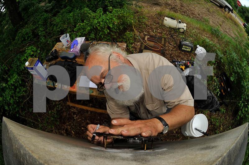 Texas Centennial Marker Cleaning