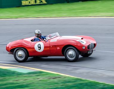 Rod Quinn, number 9, driving a 1955 Arnolt Bristol