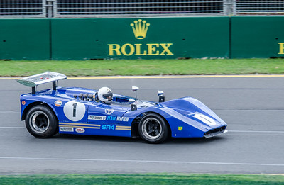 Nigel Tait, number 1, driving a 1969 Matich SR4