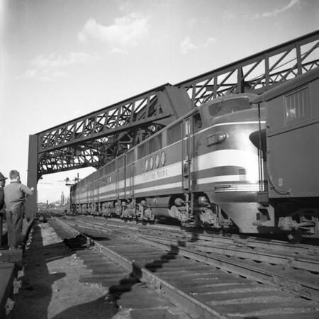 GM diesel demonstrator leaving south Worcester yard to Mechanicville, MA 1940-12n2_dK