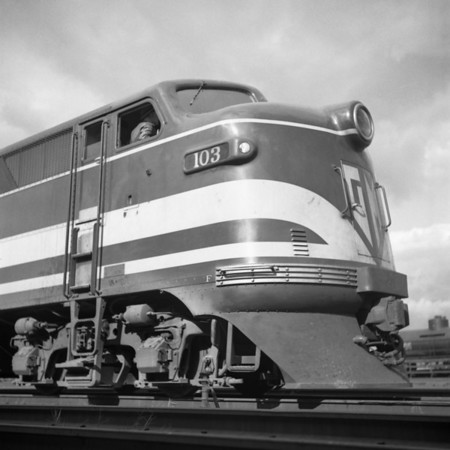GM diesel demonstrator in the south Worcester yard. 1940-11n8_dK