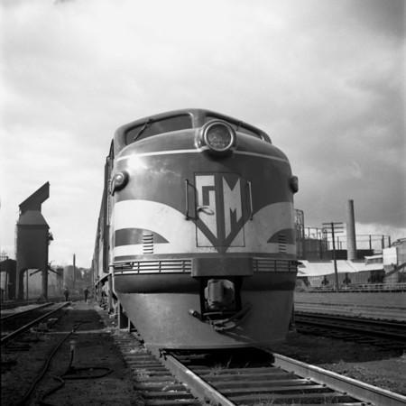 GM diesel demonstrator in the south Worcester yard. 1940-11n2_dK