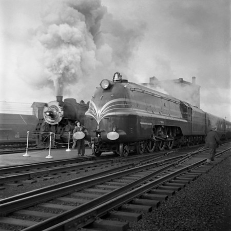 English Coronation Train at Worcester, MA Union Station. B&A eastbound to Boston is passing on the right. 1940-10n2_dK