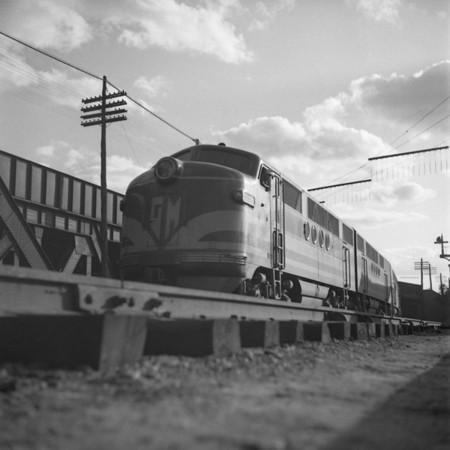 GM diesel demonstrator leaving south Worcester yard to Mechanicville, MA 1940-12n1_dK