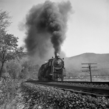 Zoar, MA - B&M freight, with #4108, westbound towards the Hoosac Tunnel. 1940-13n1_dK