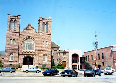 Sanctuary exterior with new Administration wing c1988