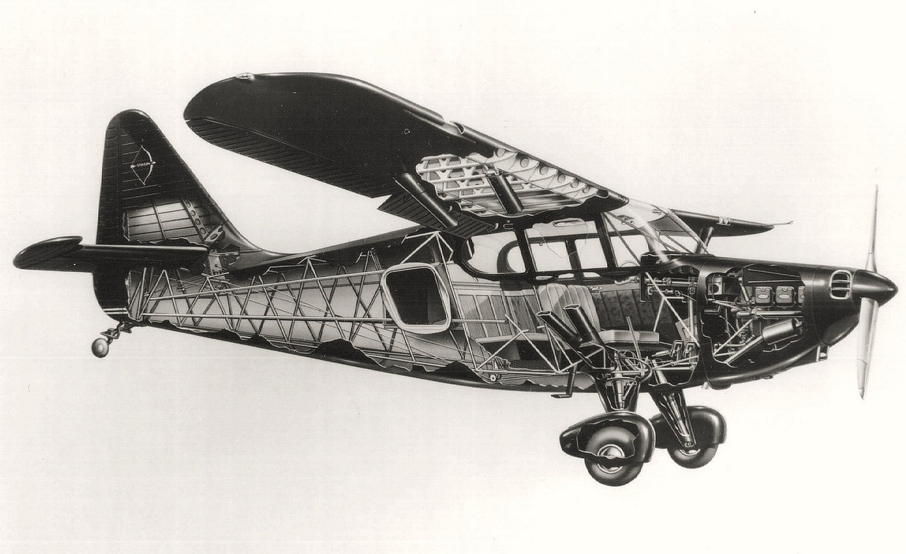 This cut-away drawing illustrates the structural design of the Stinson 108-3 Voyager.