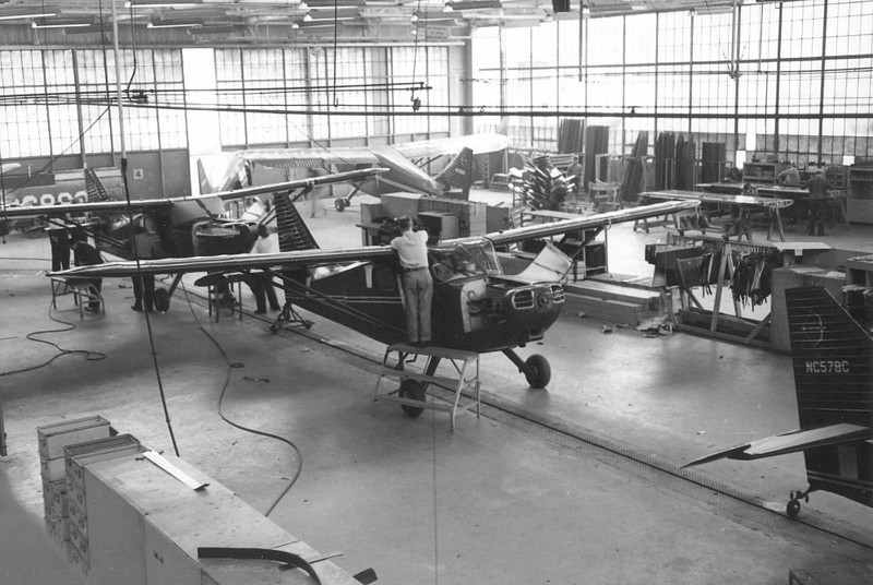 An early production line of Stinson Voyagers being manufactured by the Consolidated Vultee Company.