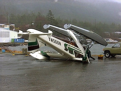 During it's time with Promech Air, N995WA was badly damaged during a sudden wind storm in Ketchikan about three years prior to the accident.