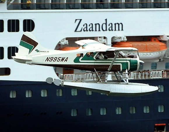 "N995WA with Promech Air seen here departing next to Holland America cruise ship the ""Zaandam"" in Ketchikan, Alaska."