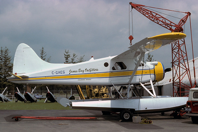 The DeHavilland was operated for many years within Canada. This photo shows the aircraft (C-GAEG) operated by James Bay Outfitters.