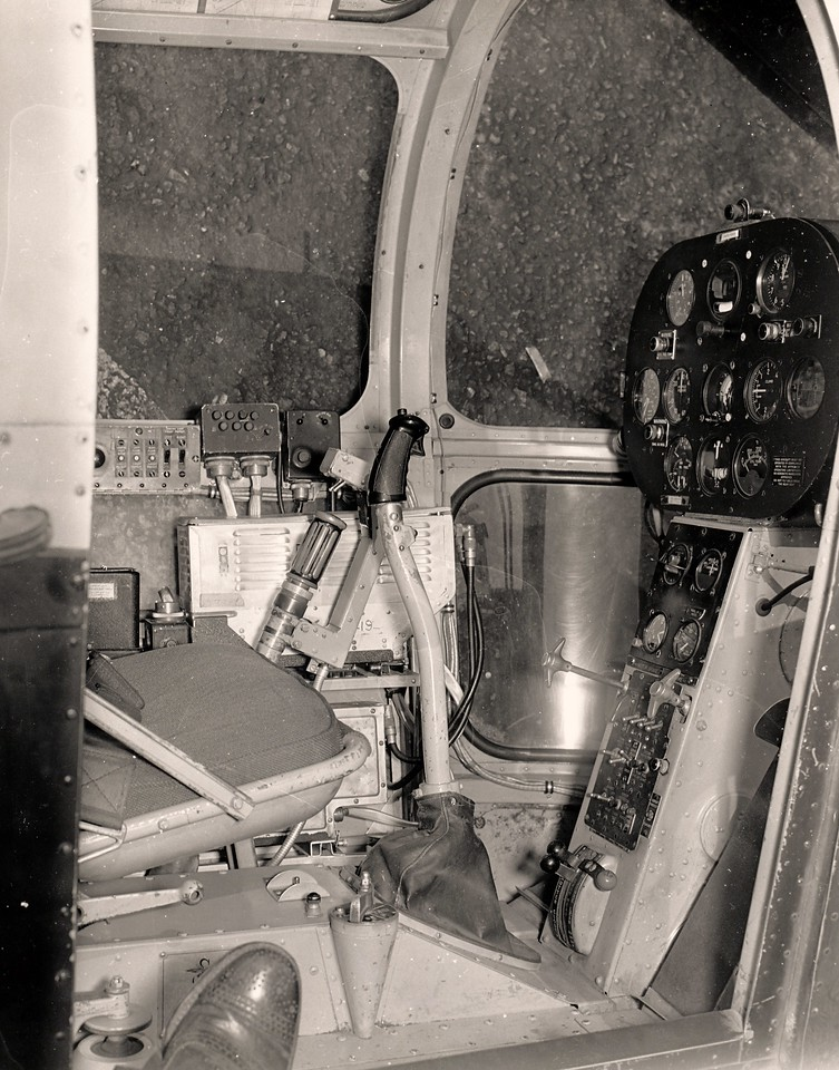 Cockpit of the crashed Los Angeles Airways Sikorsky S-51 Helicopter.