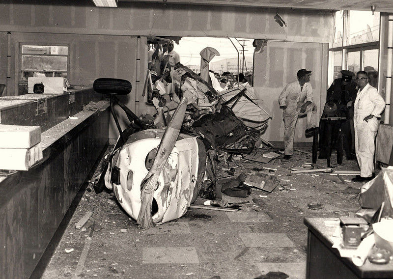 Tower controllers at LAX watched as Mr. Fauth circled the field several times without making any radio calls. <br /> <br /> At first they thought the pilot had an emergency of some kind but then the plane suddenly began a dive for the bank building.