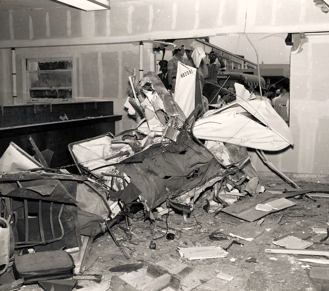 The fabric and tube frame aircraft was shredded as it passed through the three foot square window.