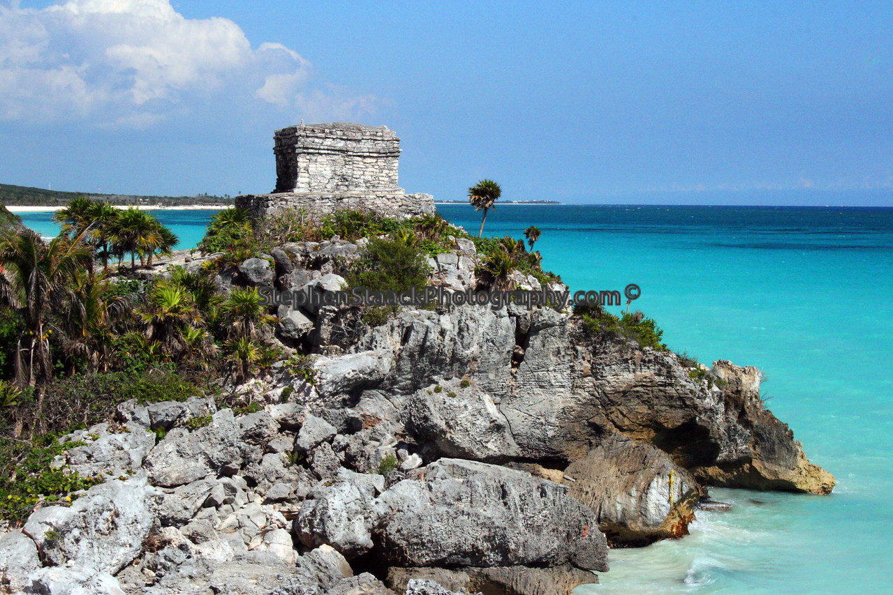 Temple of the Wind, Tulum, Mexico. The city was also known as Zama or dawn because the was one of the first places that the sun rose in the country of Mexico.