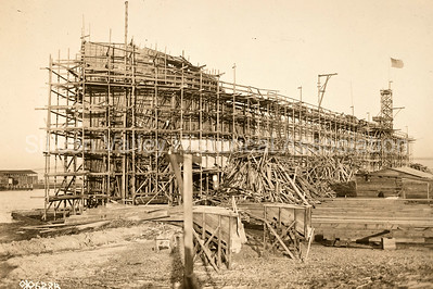 Construction of a concrete ship in Redwood City, California c. 1918