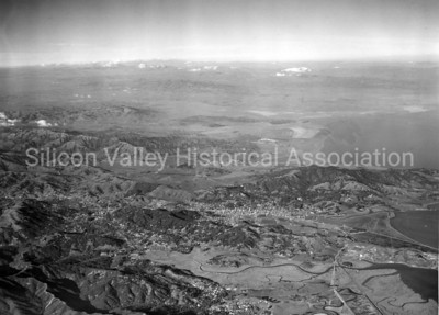 Aerial view from 7,000 feet altitude of San Rafael, California in 1938