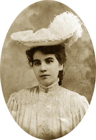 Lady in Victorian dress and feathered hat from California c. 1918