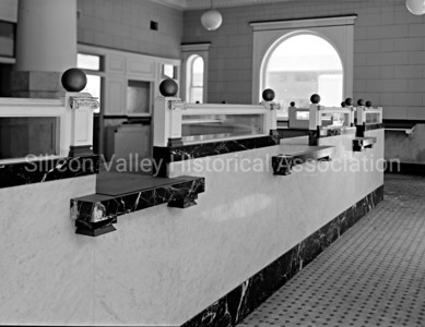 Teller windows at the Bank of San Mateo County in Redwood City, California, c. 1920