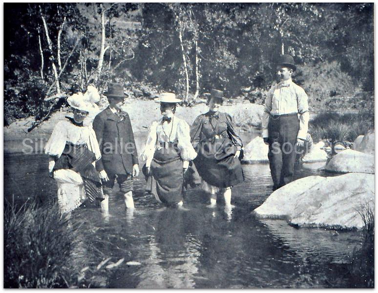 Early Santa Clara County residents wading in a lake, c. 1890