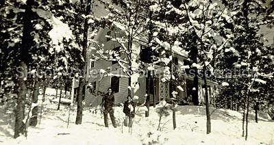 Lake Tahoe  - house in the snowy woods in the 1930s