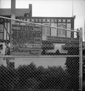 Tanforan Assembly Center sign in San Bruno, California in 1942