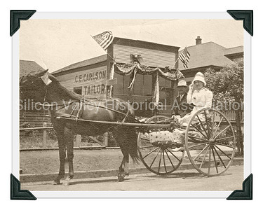 Fourth of July in 1912 - Santa Clara couple riding in parade in Denver, Colorado