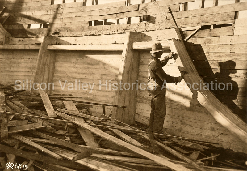 Construction of a 4500 ton concrete ship at Redwood City, California c. 1918