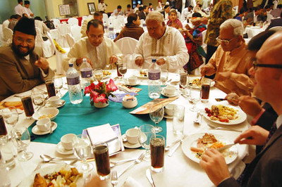 Dignitaries taking dinner