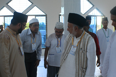 Ameer saheb is talking to Naib Sadr Shahidul Islam Babul at the Main Prayer Hall for Gents