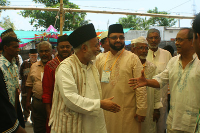 National Ameer saheb is greeted by Naib National Ameer Maj. Gen. (Retd) A.M. Mahmuduzzaman
