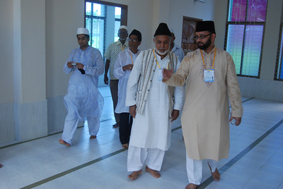 National Ameer visiting the ladies prayer hall with Sadr Ansarullah