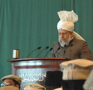 Huzur delivering Khutba Jumah (The Friday Sermon on June 10th 2005) at Vancouver Canada.