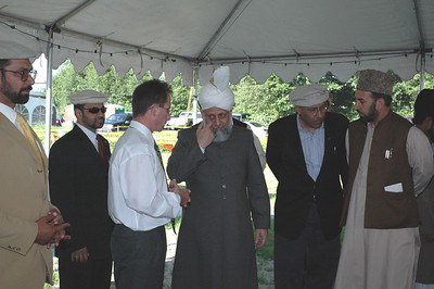 Hazur inspecting the site a day before laying foundation