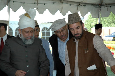 Mirza afzal Baig Sahib explaining the place prepared for laying foundation