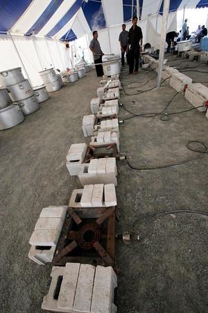 Stoves made by volunteers to prepare food