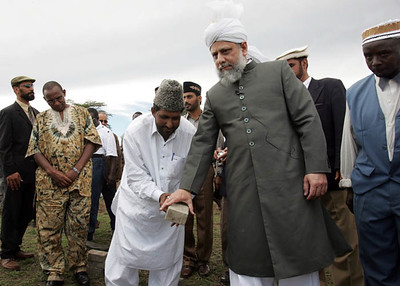 Accepting the first brick for Nakuru Mosque