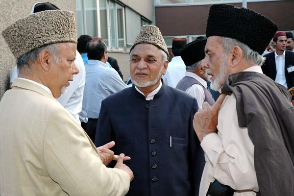 Professor Chaudhry Hameed Sahib, Chaudhry Hameedullah Sahib and Mir Mahmood Nasir Sahib [L-R]
