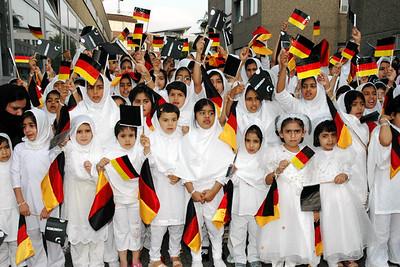 Waqfat-e-Nau children waiting for Huzur