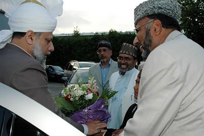 Abdul Rehman Mubashir Sahib greets Huzur
