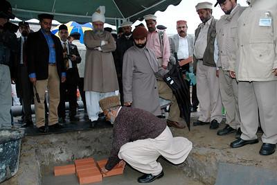 Mubashir Ahmad Kahlon Sahib Mufti Silsila Ahmadiyya lays the foundation stone