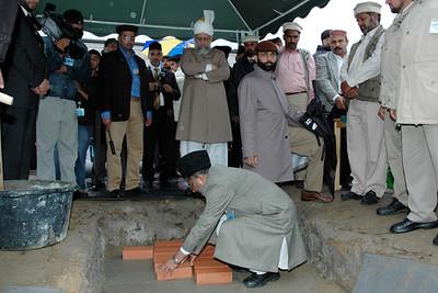 Haider Ali Zafar Sahib Mubligh Incharge germany laying the foundation stone