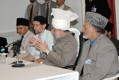 Huzur with National Amir Sahib and Regional Amir and Mubaligh